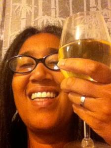 aya with wine